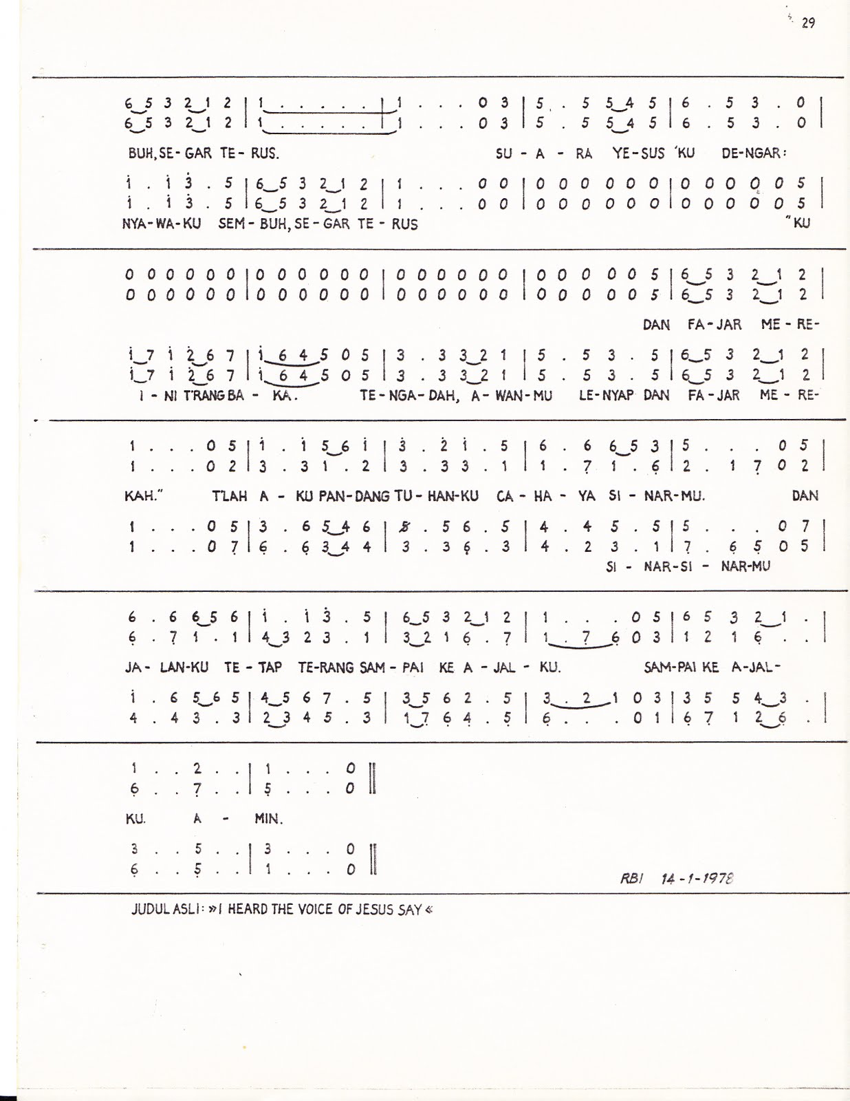 SUARA YESUS KUDENGAR, Lagu rakyat Inggris, Teks: I. S. Kijne