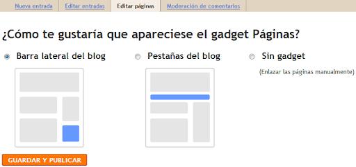 Blogger permite crear páginas individuales