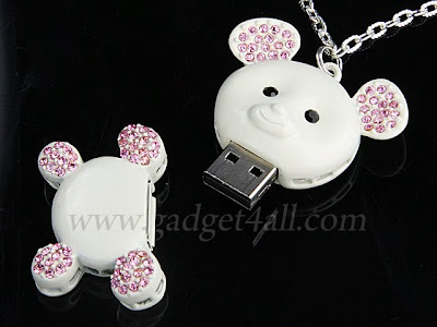 Cute Jewel Necklace USB Flash Drive - Bear or Mobile Shape