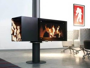 The TURN Fireplace Moves 360 Degrees Round