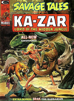 Savage Tales #6, Neal Adams, Ka-Zar and Zabu, dinosaur stampede