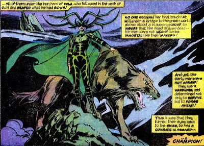 Hela, goddess of death, and her great big doggie