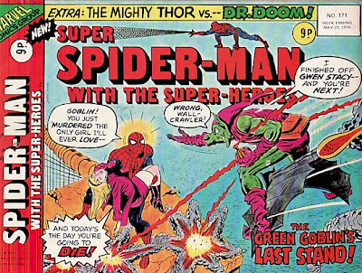 Super Spider-Man with the Super-Heroes #171, landscape format, the death of the Green Goblin