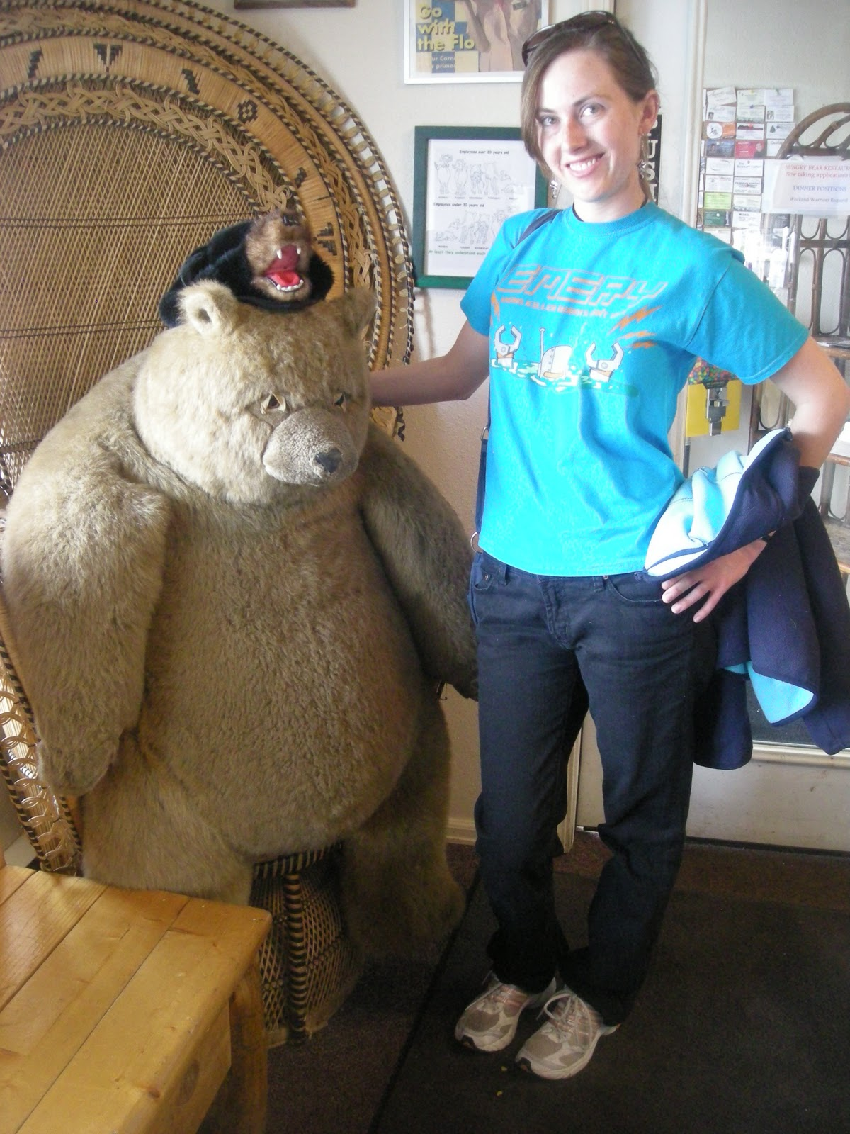 Me and Topanga with the giant bear, the mascot for our favorite restaurant ...