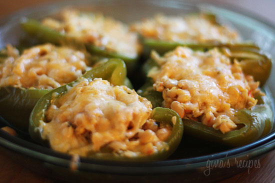 Chicken And White Bean Stuffed Peppers Recipe — Dishmaps