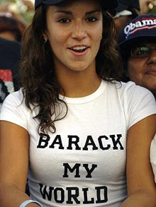 Stare at my tits - as long as you vote for Obama!