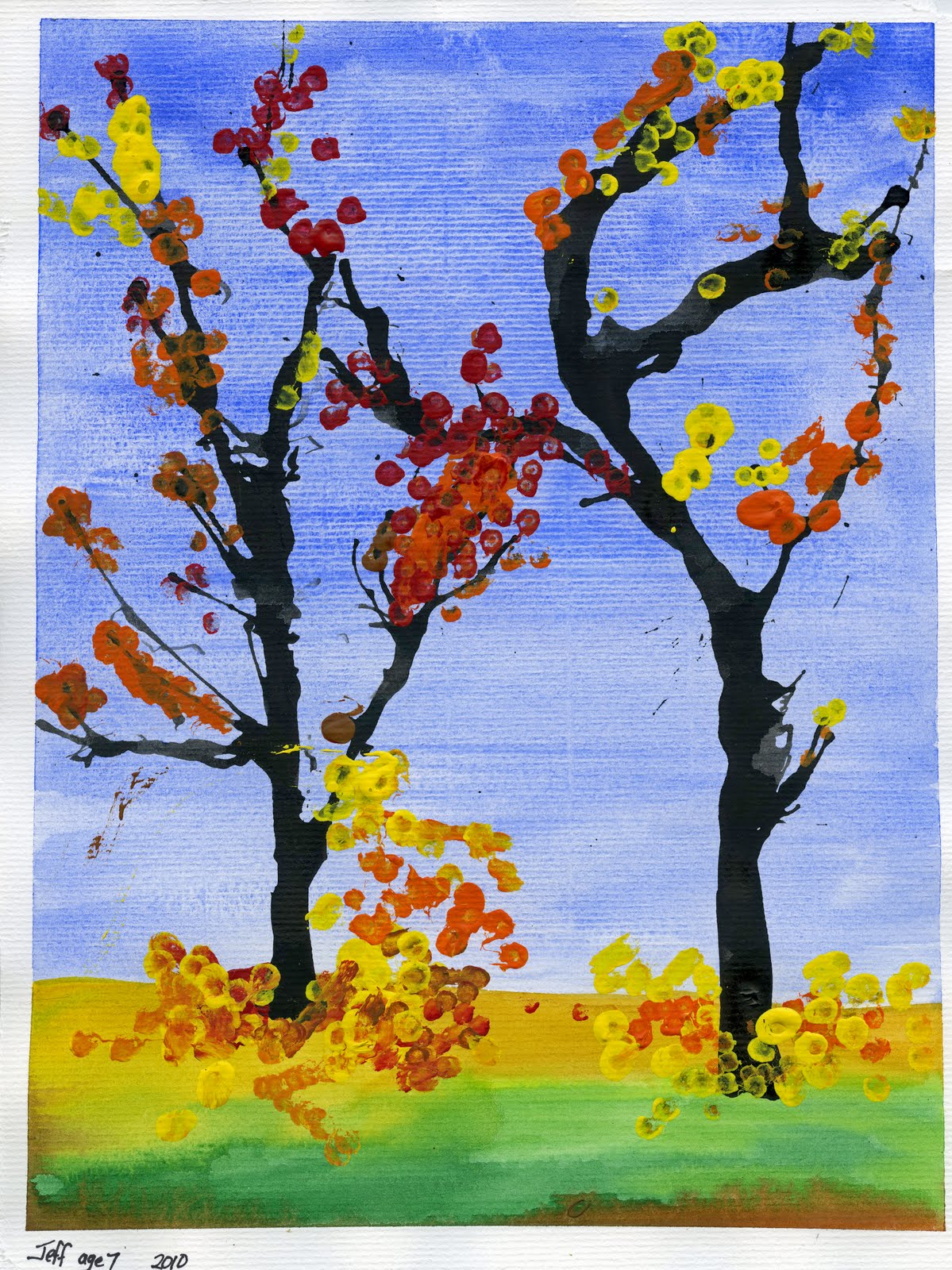 That artist woman fall trees version 2 for Autumn tree painting