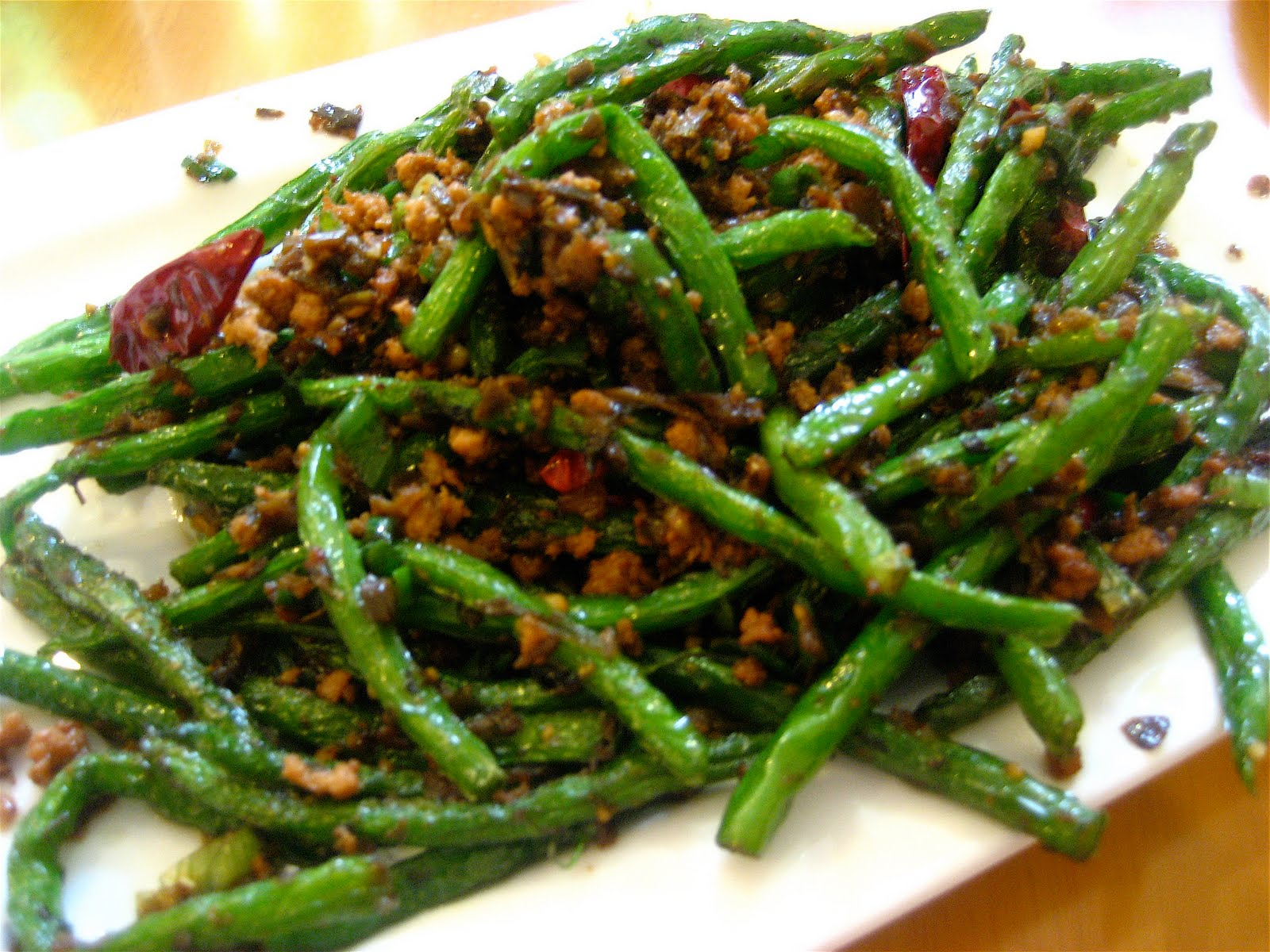 Dry fried green beans with pork mince and chillis were salty..