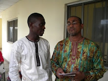 THE ARTIST, MR LEON ASHAYE (L) AND THE CURATOR, MR EMMANUEL SILVA AT THE OPENING CEREMONY