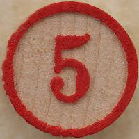 number 5 red orange