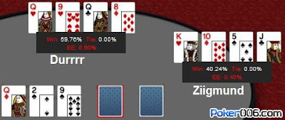 Durrrr flopped top set of queens against Ziigmund's massive straight draws