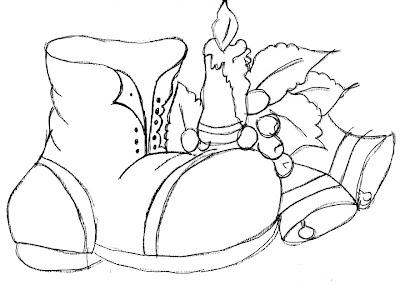 Bota+de+natal,+desenhos+natalinos+e+velas+de+natal Risco de natal para pano de prato, moldes natalinos para imprimir para crianças
