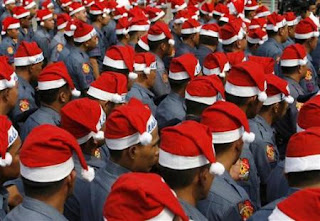 Cops wearing Santa Caps  for Santa Cops Dallas program