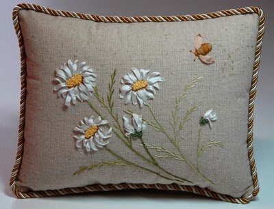 lovely silk ribbon embroidered pillow