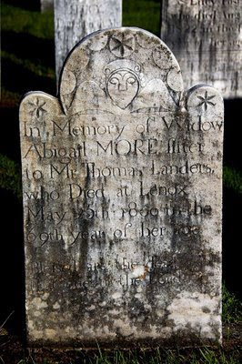 charming folk art headstones are common at Church on the Hill cemetery in Lenox, MA
