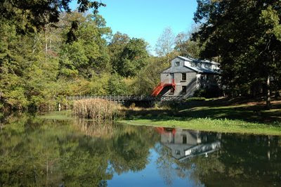 this is the tranquil view of Evins Mill on the road to the inn