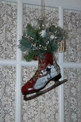 this beautiful painted skate was created by an artist friend in Missouri and hangs outside my home office