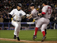 Alex Rodriguez slaps ball from Bronson Arroyo's glove in 2004 playoffs