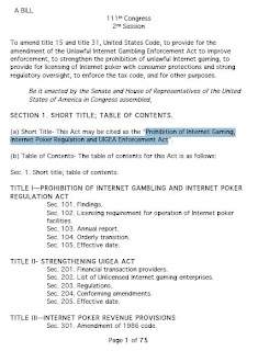 Page 1 of Sen. Harry Reid's proposed 'Prohibition of Internet Gaming, Internet Poker Regulation and UIGEA Enforcement Act'