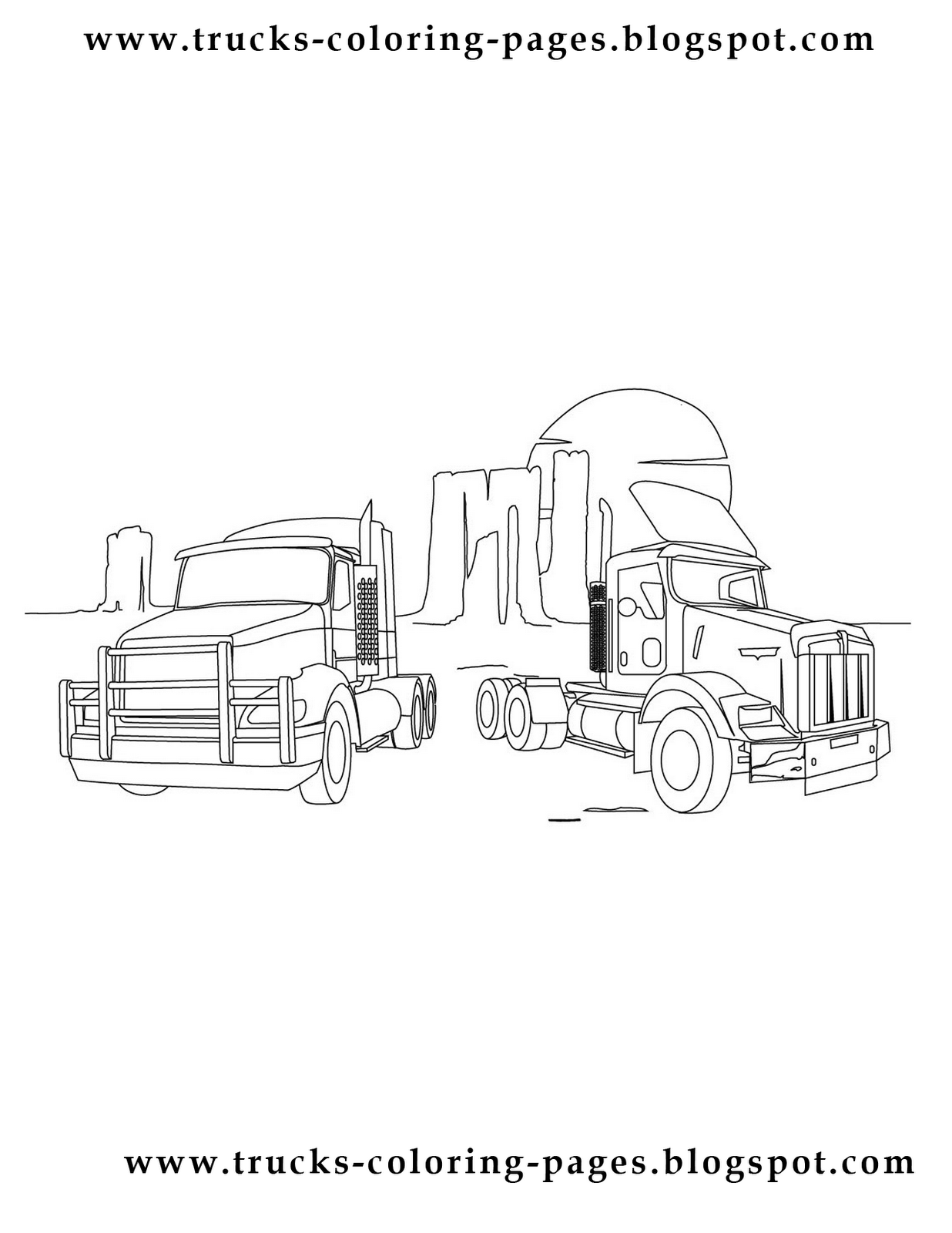 Free coloring pages of diesel trucks for Jacked up truck coloring pages