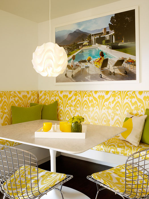 Yellow And White Breakfast Nook With Built In Banquette Seating With Ikat  Fabric On The Seats