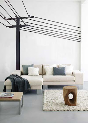 Power pole wall sticker in a living room from Ferm Living