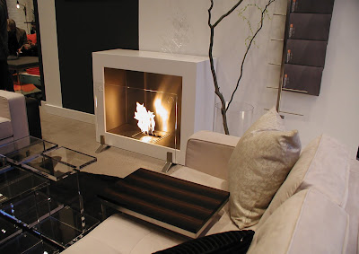 Environmentally friendly fireplace in a living room