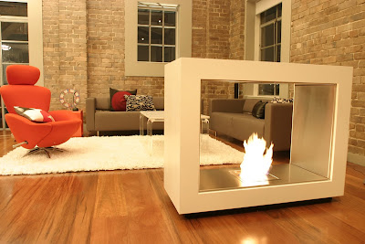 Environmentally friendly and modular fireplace in a living room