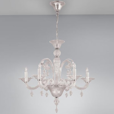 Clear glass chandelier with chrome finishes from Ylighting