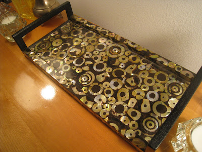 Wood and mother of pearl R&Y Augousti tray