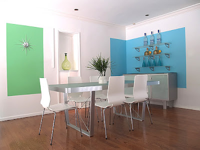 Dining Room on Turquoise Hollywood Hills Home Living Dining Room Dining Room Color