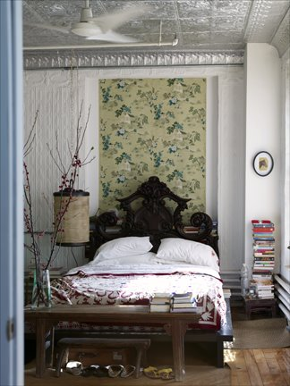 Space Wallpaper Bedroom. A tin ceiling in the edroom