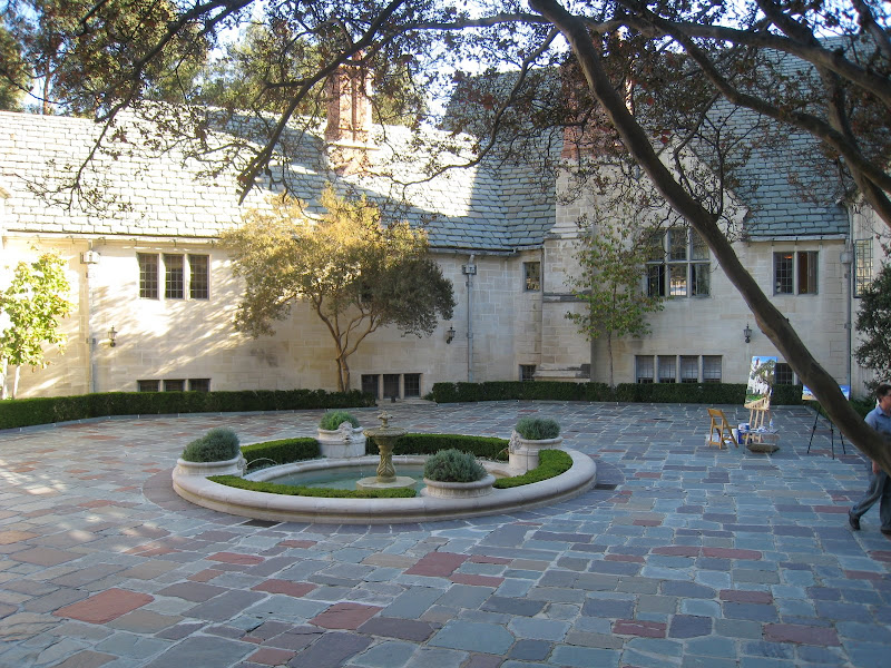 Greystone Estate's main courtyard features a large round fountain