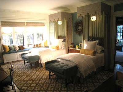 Guest bedroom in the guest wing in the Greystone Mansion