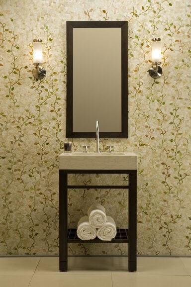 Kitchen decor with green mosaic tiles for Beige bathroom bin