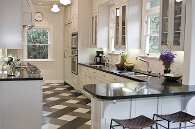 Bar Black Granite Counter White Cabinets Stainless Appliances Glass Upper Cabinets Plaid Tile Stone Floor Windmill Pattern Grey Glass Double Sink