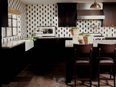 Create a contemporary finish by experimenting with the size of the black and white tiles