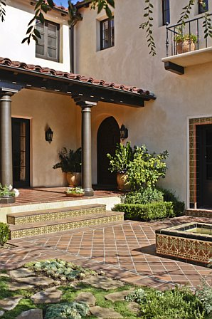 Front door and courtyard of a Cheviot Hills home after remodeling