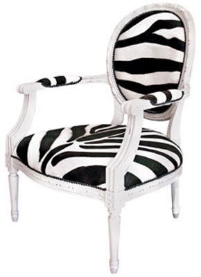 Zebra print upholstered Louis inspired chair with nail head trim from Maison Luxe