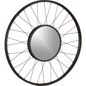 Mirror made from reclaimed iron bicycle wheels from cb2