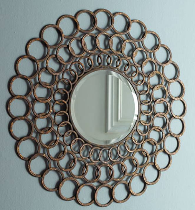 Iron frame mirror made of layered rings from Horchow
