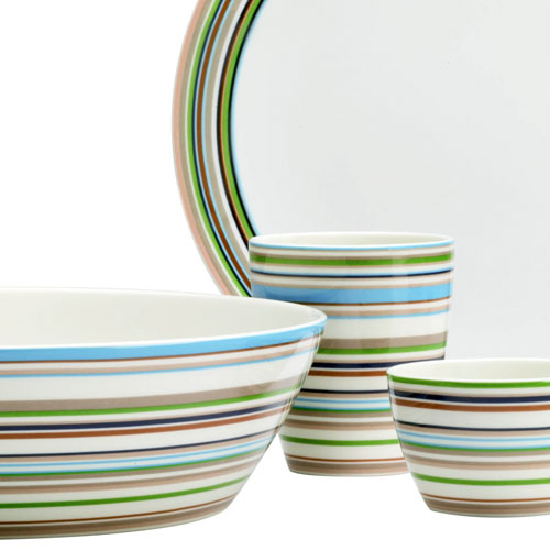 White porcelain dinnerware with blue, green and brown stripes from Zwello
