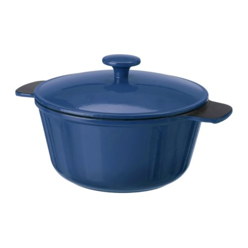 Blue cast iron casserole pot from Ikea