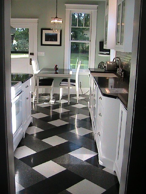White Cabinets Black Quartz Stone Counters