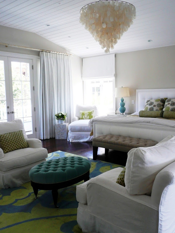 Cococozy room to love mastering design in a beachy chic master bedroom Chandelier in master bedroom