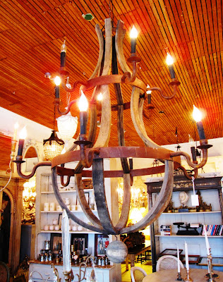 Wine barrel chandelier inside a Los Angeles store