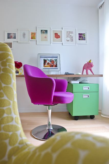 Interior designer Ghislaine Vinas' small home office with a bright