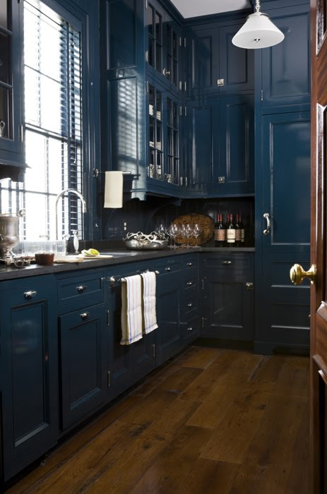 Blue Kitchen Cabinets Cream Backsplashes
