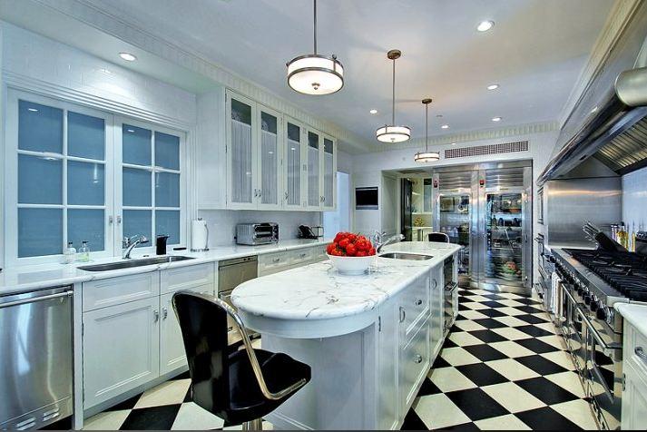 Black And White Checkered Floor Kitchen