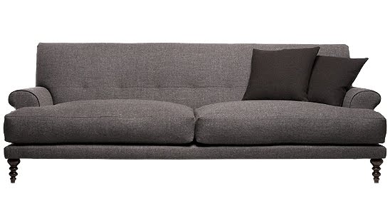 Grey sofa with European hardwood, wool, feathers, walnut-stained beech turned feet from The Future Perfect